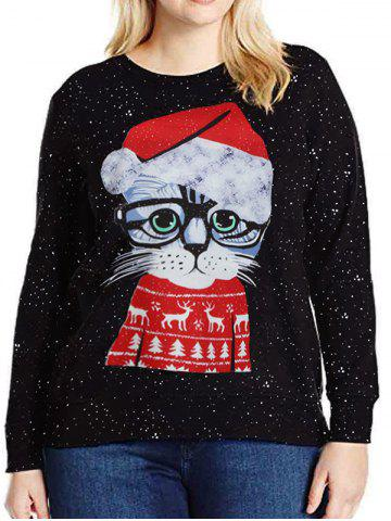 Chic Long Sleeve Cartoon Cat Christmas Sweatshirt