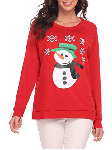 Discount Long Sleeve Snowman Pattern Sweatshirt