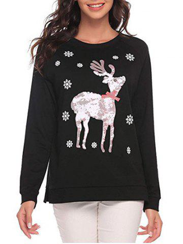 Fashion Christmas Deer and Snowflake Sweatshirt