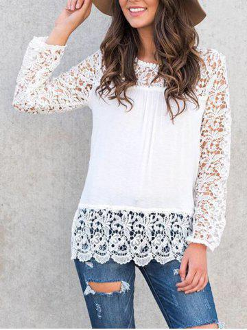 Store Long Sleeve Lace Panel Blouse