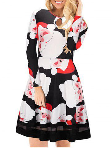 Fancy Christmas Santa Claus Print Keyhole Dress