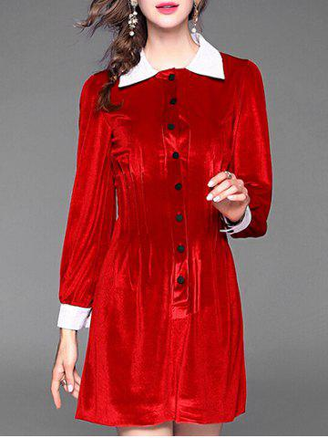 Chic Button Up Velvet Shirt Dress