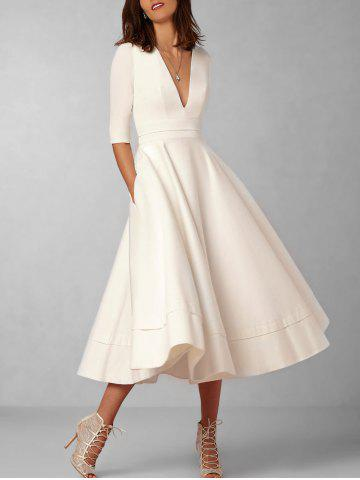 Outfits Plunging Neck Flare Midi Vintage Dress