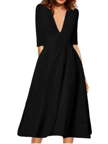 Sale Plunging Neck Flare Midi Vintage Dress