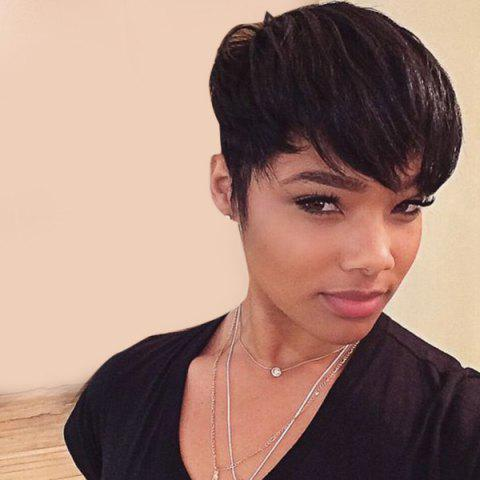 Sale Short Side Bang Straight Pixie Human Hair Wig