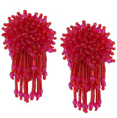 Chic Beaded Cluster with Fringed Earrings