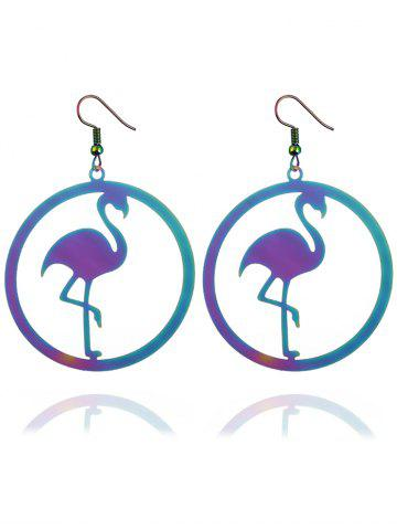Trendy Circle Flamingo Shape Drop Earrings