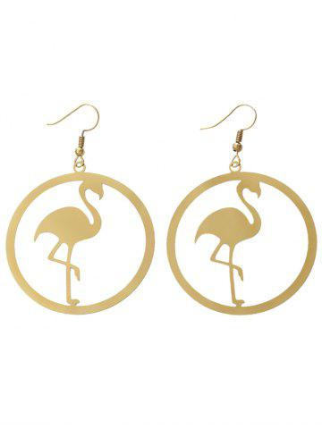 Outfit Circle Flamingo Shape Drop Earrings