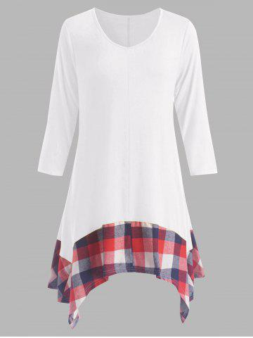 Hot Plus Size Asymmetric Plaid Panel Tunic Dress