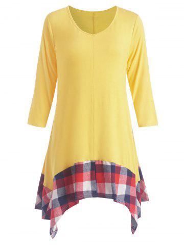 Cheap Plus Size Asymmetric Plaid Panel Tunic Dress