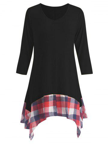 Unique Plus Size Asymmetric Plaid Panel Tunic Dress