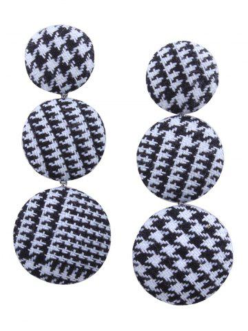 Discount Houndstooth Round Pattern Long Drop Earrings