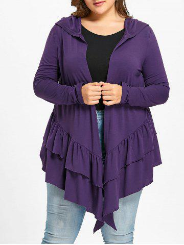 Outfits Plus Size Ruffle Open Front Hooded Cardigan