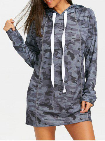 Discount Exposed Seam Camo Hoodie Dress
