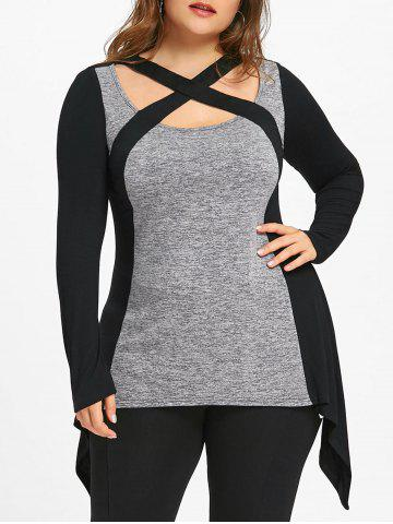 Online Plus Size Criss Cross Marled T-shirt