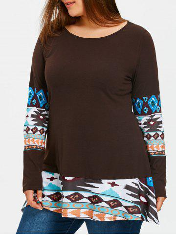 Discount Aztec Print Panel Plus Size Tunic T-shirt