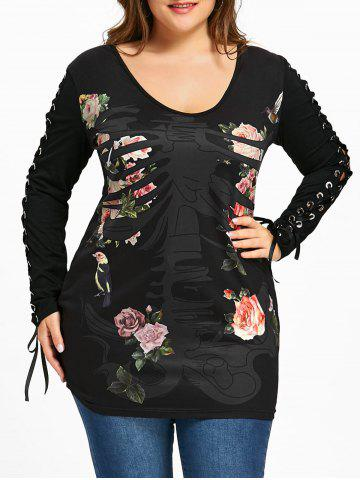 Latest Plus Size Skeletal Floral Lace Up T-shirt