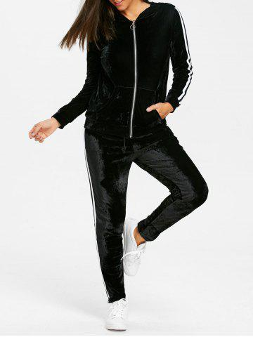 Trendy Striped Velvet Hooded Jacket and Drawstring Pants