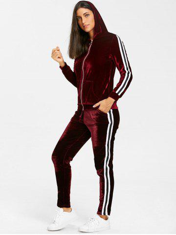 Affordable Striped Velvet Hooded Jacket and Drawstring Pants