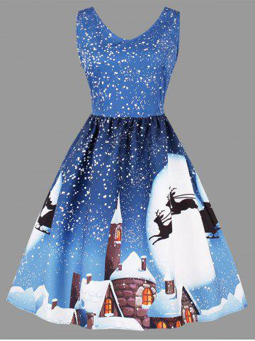 Best Plus Size Christmas Moon Print Sleeveless Dress