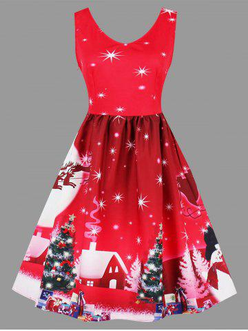 Fashion Christmas Tree Snowman Moon Plus Size Dress