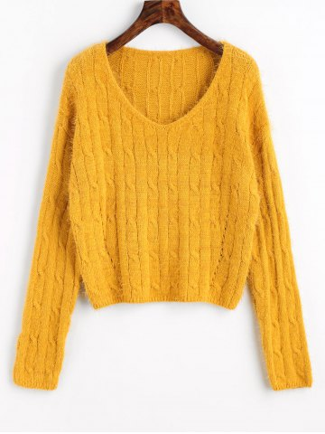 Hot Cable Knit Textured Cropped Sweater