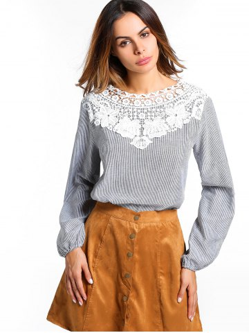 Store Striped Floral Lace Panel Blouse