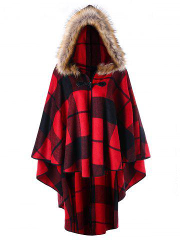 Discount Plus Size High Low Plaid Hooded Cloak