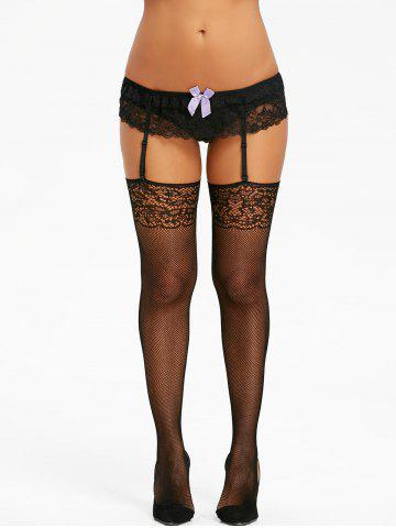 Chic Cut Out Lace Panel Fishnet Garter Tights