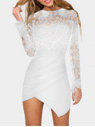 Asymmetric Lace Panel Short Bodycon Dress -