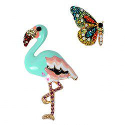 Broches papillon et flamant rose -
