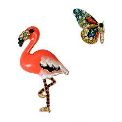 Butterfly and Flamingo Faux Diamond Brooches -