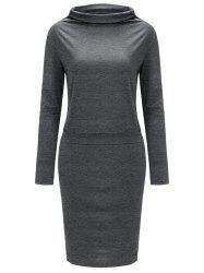 High Neck Long Sleeve Sheath Tight Dress -