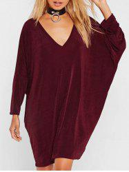 Plunge Neck Casual Batwing Dress -