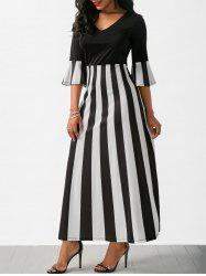 V Neck Flare Sleeve Striped Long Dress -