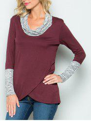 Stripe Panel Cowl Neck Tunic Tee -