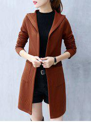 Knitted Hooded Tunic Cardigan -