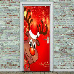 Cartoon Christmas Elk Pattern Enviromental Door Stickers -