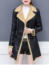 Lapel Collar Zipper Insert Faux Leather Coat -