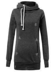 Drawstring Badge Pattern Hooded Pullover Hoodie -