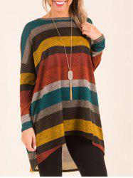 Long Sleeve Color Block High Low Top -