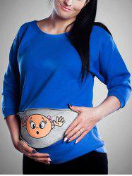 Baby Printed Drop Shoulder Sweatshirt for Pregnant Women -