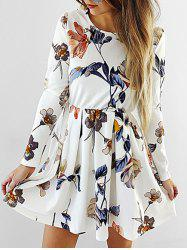 Flower Printed Long Sleeve Skater Dress -