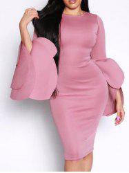 Flared Layered Sleeve Bodycon Pencil Dress -