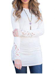 Crochet Insert Long Sleeve Ruched Dress -