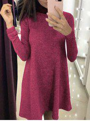 Long Sleeve High Neck A-line Dress -