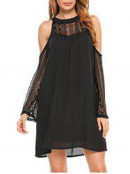 Cold Shoulder Lace Panel Chiffon Dress -