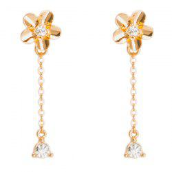 Rhinestone Chain Flower Earrings -