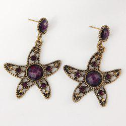 Starfish Hollow Out Faux Diamond Drop Earrings -