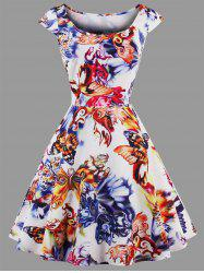 Plus Size Butterfly Printed Dress -